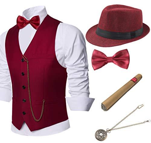 Coucoland 1920s Accessoires Herren Mafia Gatsby Kostüm Set inklusive Panama Gangster Hut Herren Weste Halsschleife Fliege Taschenuhr und Plastik Zigarre (Weinrot, XL)