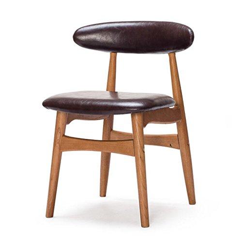 Rollsnownow Brun foncé PU Coussin Chaise À Manger Chaise Dossier En Bois Massif Chaise De Bureau Bureau Et Chaise Café Tables Et Chaises Rétro (Color : Red rubber color)