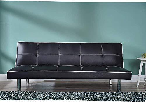 3 plazas banco de esquina sofá del salón, moderno sofá cama individual para oficina sala de estar, haga clic mecanismo de relajación,Black