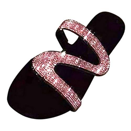 F Fityle Al Aire Libre Bling Glitter Fancy Sparkle Zapatillas De Mujer Sandalias Diapositivas De Punta Abierta Chanclas De Diamantes De Imitación Señoras Roman - Rosado, 41