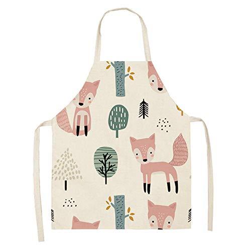 LIUKLAI Delantal con patrón de gato y zorro de hoja mujer adulto niño babero cocina casera tienda de hornear delantal limpio accesorios de cocina 68 * 55cm-A6_68x55cm