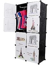 Kurtzy 8 Door Plastic Sheet Wardrobe Storage Rack Closest Organizer for Clothes Kids Living Room Bedroom Small Accessories (Black)