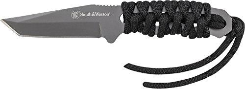 Smith & Wesson SW910TAM 5.9in High Carbon S.S. Full Tang Neck Knife with a 2.8in Tanto Blade and Paracord Handle for Outdoor, Tactical, Survival and EDC