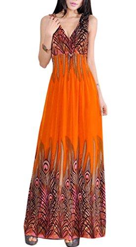 VSVO Women's Peacock Maxi Long Beach V Neck Dresses