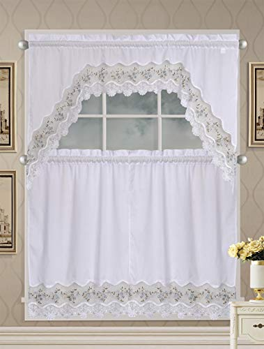 Fancy Collection 3pc Embroidery Floral Kitchen/Cafe Curtain Tier and Valance Set 1092 (Blue/White)