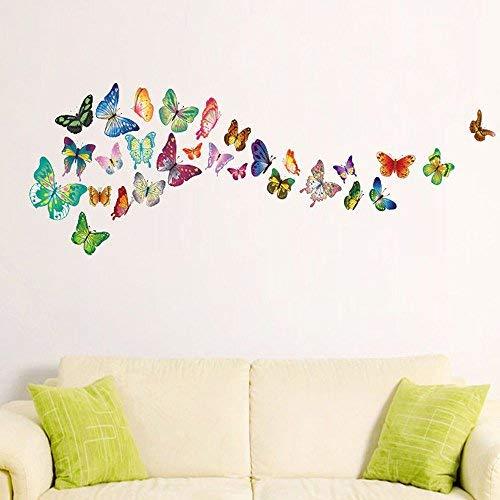 Walplus mariposas Adhesivos de pared - Oficina decoración hogar, 120cm x 70cm, pvc,extraíble ,transparente cenefas,autoadhesivo,Multicolor