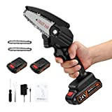 APROTII Mini Chainsaw with 2 Battery, 4-Inch Cordless Electric Portable Chain Saw with Rechargeable Battery One-Handed Portable Pruning Shears Chainsaw for Tree Branch Wood Cutting and Garden, Black