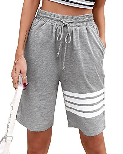 Maxwinee Pantalón corto de chándal para mujer, largo hasta la rodilla, con cordón, pantalones deportivos 3/4, pantalón de chándal de verano, bermudas