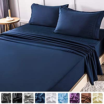 LIANLAM California King Bed Sheets Set - Super Soft Brushed Microfiber 1800 Thread Count - Breathable Luxury Egyptian Sheets 16-Inch Deep Pocket - Wrinkle and Hypoallergenic-4 Piece(Navy Blue)