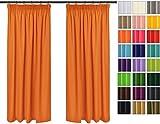 Rollmayer Vorhänge mit Bleistift Kollektion Vivid (Orange 6, 135x175 cm - BxH) Blickdicht Uni einfarbig Gardinen Schal für Schlafzimmer Kinderzimmer Wohnzimmer - 4