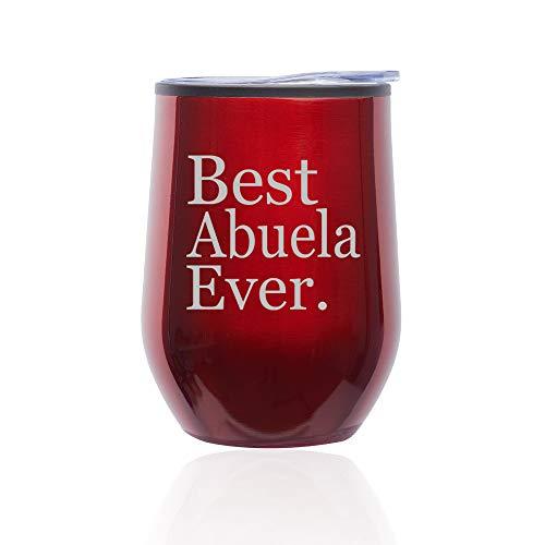 Stemless Wine Tumbler Coffee Travel Mug Glass With Lid Best Abuela Ever Grandma Grandmother (Red)