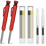 2 Pcs Solid Carpenter Pencil, with 12 Refills and 2 Utility knife Built-in Pencil Sharpener Construction Tools Lead Construction Pencils Solid Deep Hole Pen Marking Tool for Woodworking Architects