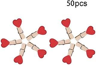 INFILM 50 pinzas para fotos, mini pinzas de madera con forma de corazón para ropa, pinzas multifunción para papel fotográfico