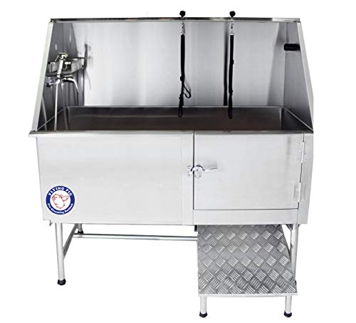 """Flying Pig Grooming 62"""" Stainless Steel Pet Dog Bath Tub with Faucet (Right Door/Left Drain), 62 x 2"""