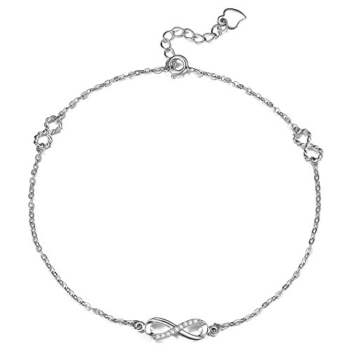 F.ZENI Infinity Anklet Bracelet for Women 925 Sterling Silver Infinity Symbol Charm Adjustable Bracelet Chain Jewelry Gifts Collection