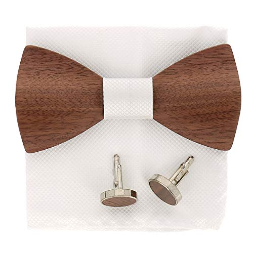 SHIPITNOW Pajarita y Gemelos Madera Oscura - Pañuelo de bolsillo Bianco - Vendido en una Caja - Pajarita de Madera Hombre Bianco