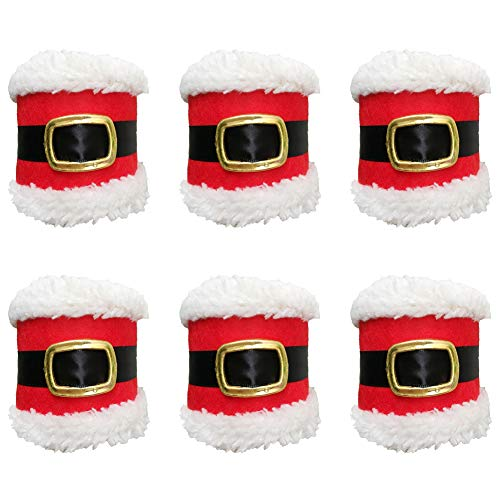 Warmstor 6-Pieces Christmas Santa Claus Belts Napkin Rings Serviette Holders Creative Decor for Restaurant Hotel Wedding Party Holiday Festival Celebration Table Decoration
