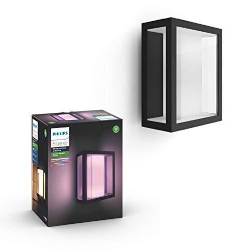Philips Hue White and Color Ambiance LED Wandleuchte Impress (breit), für den Aussenbereich, dimmbar, bis zu 16 Millionen Farben, steuerbar via App, kompatibel mit Amazon Alexa (Echo, Echo Dot)