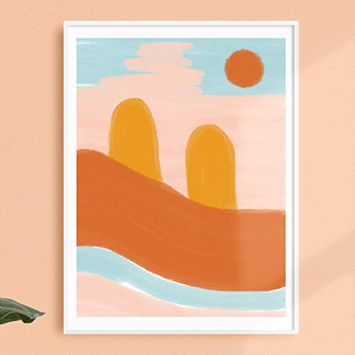 Desert Magic Poster | Boho Print | Blush Sun Print | Warm Tones Painting | Abstract Art | Vintage Home Decor | Southwestern Decor | 12x16 inches