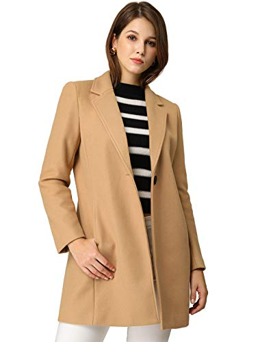 Allegra K Women's Classic Notched Lapel Buttoned Long Coat M Khaki