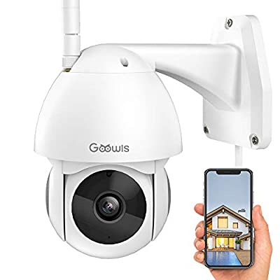 Security Camera Outdoor, Goowls 1080P HD WiFi Home Surveillance IP Camera with Pan/Tilt 360° View Waterproof Night Vision 2-Way Audio Motion Detection Cloud Service