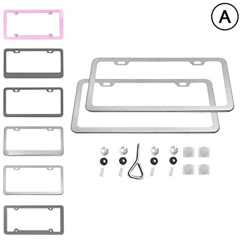 Ibetter 2 PCS Thick Aluminum Alloy Polish Mirror License Plate Frames, Slim Car Licence Plate Holder Covers with Bolts, Washers and Screw Caps for US Standard (2 Holes Slim Silver)