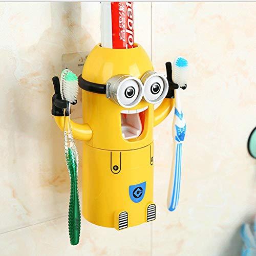 meng ran Automaten für Zahnpasta und Zahnbürstenhalter, Automatisches Zahnpastawerkzeug,Thema: gelber Cartoon