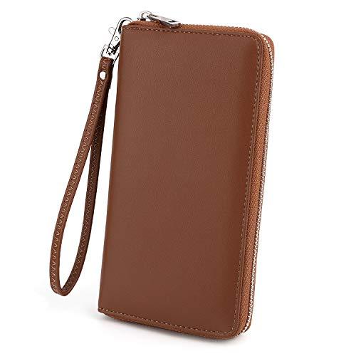 UTO Women Wristlet Phone Purse 18 Slots Card Organizer Ladies Checkbook Wallet Passport Clutch Zip Around Synthetic Leather Brown