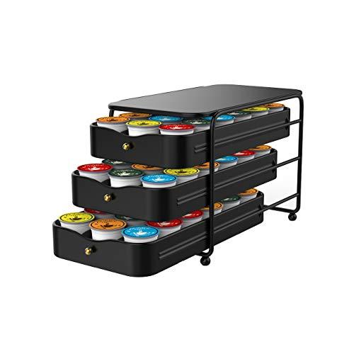 Everie 3Tier Coffee Pod Holder Storage Organizer Drawer for 54 Keurig K Cup Pods Black