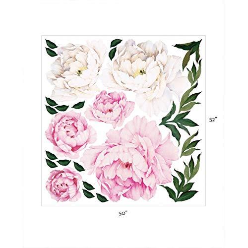 XCWQ Armband, dames, aquarel, pioenrose, bloemen, wandstickers, voor woonkamer, keuken, decoratie
