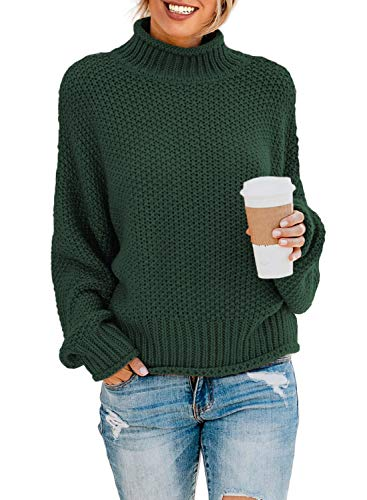 Dokotoo Womens Turtleneck Sweater High Neck Batwing Long Sleeve Ribbed Cozy Chunky Pullovers Sweaters Casual Winter Knitted Outerwear Jumpers Green Large