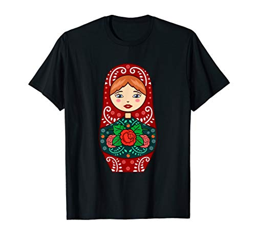 Rote Matrjoschka Puppen Russiche Nistpuppe Matroschka T-Shirt