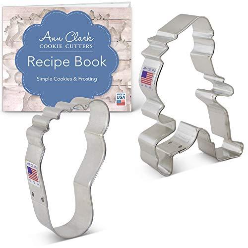 Ann Clark Cookie Cutters 2-Piece Bigfoot/Sasquatch Cookie Cutter Set with Recipe Booklet, Bigfoot, Foot