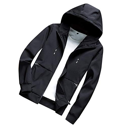 TAMALLU Mantel Mann Stilvoll Beiläufiges festes Warm Taschen Sweatshirt(Schwarz,M(L))