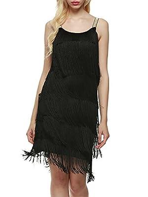 SHINE Women's Flapper Dresses Vintage 1920s Fringed Lace Tassels Hem Flapper Great Gatsby Dress