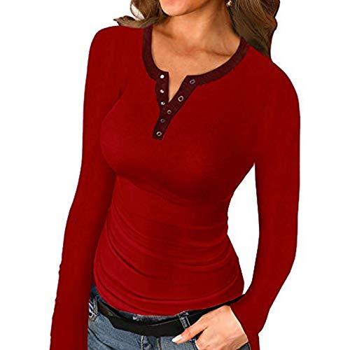 Puimentiua Camiseta Túnica Casual de Manga Larga para Mujer Camisa Sudadera Tops Pullover de Color Sólido para Primavera Otoño(C# Rojo vino,S)
