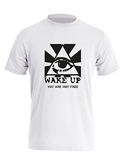 Wake Up - You are NOT Free - Herren T-Shirt Weiß - Schwarz in Größe M