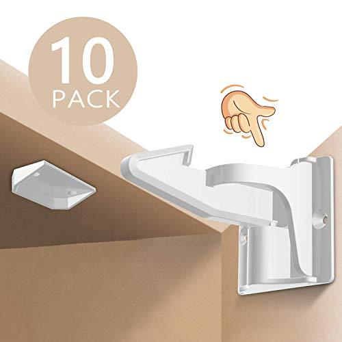 Norjews Kindersicherung Schrank, Baby Sicherheit Schrankschloss, Unsichtbare Kindersicherung für Schrank und Schubladen, Ohne Bohren und Schrauben - 10er Pack