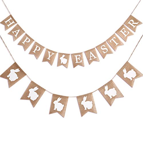 Zhanmai 2 Pieces Easter Day Banner Burlap Hanging Garland Include Happy Easter Banner and Bunny Banner for Easter Party Decoration