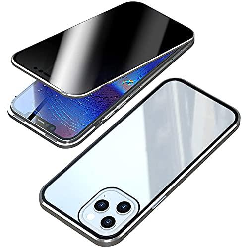 HHZY Funda para iPhone 13 Pro MAX Anti-Spy Carcasa,360° Proteccion Funda con Anti-Peep Privacy Vidrio Templado Cover,Adsorción Magnética Metal Marco Bumper Anti-Pío Case,Plata,For 13 Pro