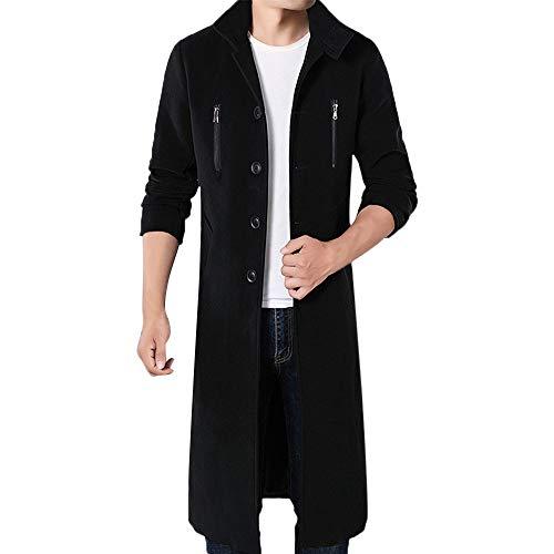 FRAUIT Mannen Parka mantel winterjas opstaande kraag windjas lange wol mantel zwart trenchcoat bussinmantel mannen winterjas werkkleding M-4XL
