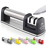 Zulay Premium Quality Knife Sharpener for Straight and Serrated Knives Stainless Steel Ceramic and Tungsten - Easy Manual Sharpening for Dull Steel, Paring, Chefs and Pocket Knives