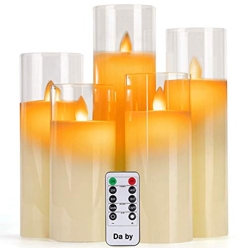 Da by Flameless Candles with Glass Effect 4' 5' 6' 7' 8' Set of 5 Drip-Less Real Wax Pillars Include Realistic Dancing LED Flames and 10-Key Remote Control with 24-Hour Timer Function