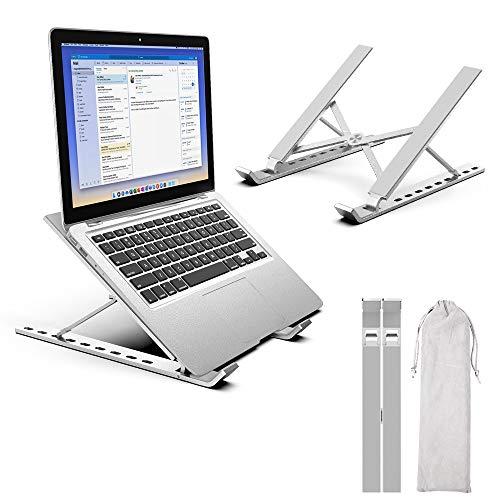 WD&CD Soporte para Portátil Ajustable, Soporte Ventilado Ordenador para Portátil Súper Ligero y Ergonómicamente Ajustable, para Portátil, Tablet y iPad, con Una Bolsa de Almacenamiento, Plateado