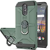 LG Stylo 3 Case,LG Stylo 3 Plus Case,LG Stylus 3 Case with HD Screen Protector YmhxcY 360 Degree Rotating Ring Kickstand Holder Dual Layers of Shockproof Phone Case for LG LS777-ZS Dark Green