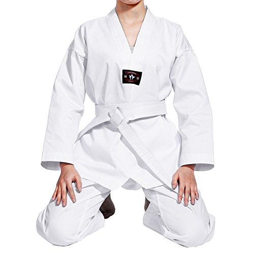 SurePromise One Stop Solution for Sourcing CLE DE Tous - Uniforme Commpleto de Taekwondo Karate Dobok para Niños con Cinturón 3 Tallas Dobok Asiana Cuello Blanco (120cm)