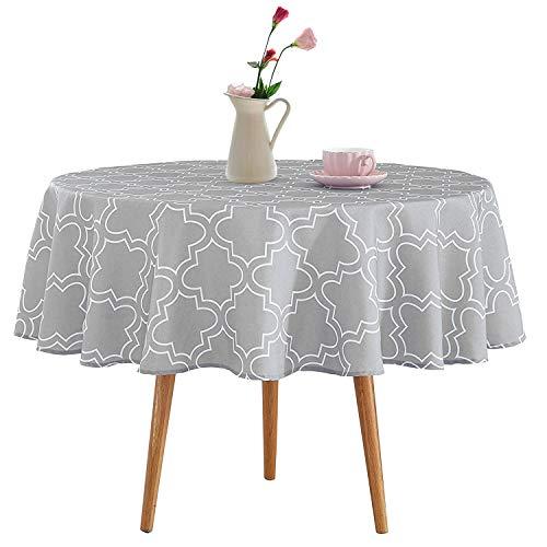 Homcomodar Tischdecken Grau Abwaschbar 152cm Rund Tischtuch Baumwolle Tischdecke Tabelle Dekoration