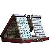 WXTRE Juego clásico de Mahjong Juego de Juegos de Mahjong Chino, Mah Jongg Conjunto con 144 Mini Azulejos Caja de Cuero Dic Dice (para el Juego de Estilo Chino) Viajar Tiempo Libre en Familia