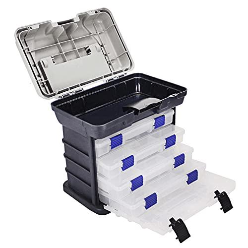 Angelkoffer-Box, tragbare Multifunktionale 4 Schichten Fischereibox Sea Boat Angelzubehör-Box-Hülle mit Griff-Utility-Box-Blue