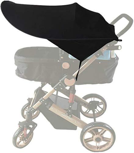 Toldo Protector Solar Universal para Cochecito de Bebé - De gran tamaño Bebé Coche Carritos de viaje Paseo Sombrilla Parasol Protección UV 50+ con Bolsillos Laterales (Negro)